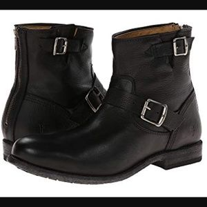 FRYE Tyler Engineer Black Leather Ankle Boots 8.5